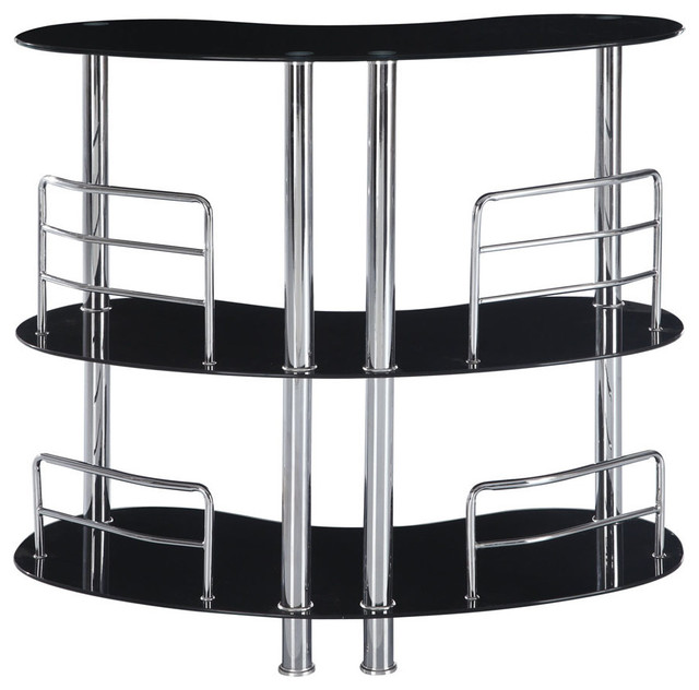 Global Furniture USA MBT02 Half Moon Black Glass Bar Table With Chrome Legs  Contemporary Wine