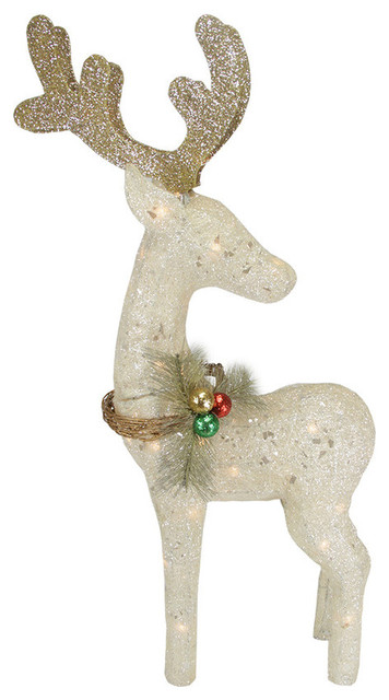 37 lighted sparkling sisal reindeer christmas yard art decoration