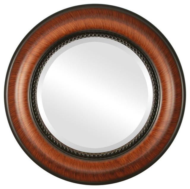 """Heritage Framed Round Mirror In Vintage Walnut, 35""""x35"""". -1"""