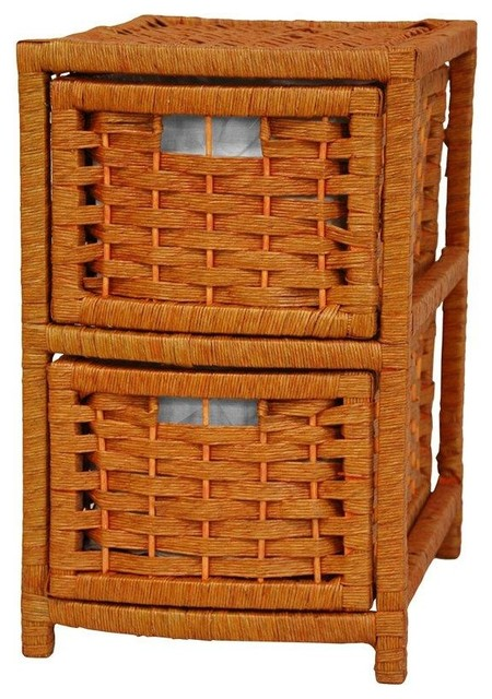 """17"""" Natural Fiber Occasional Chest Of Drawers, Honey."""