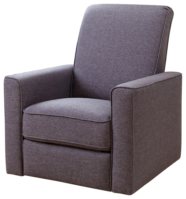 Hampton Fabric Swivel Glider Recliner, Gray Contemporary Recliner Chairs