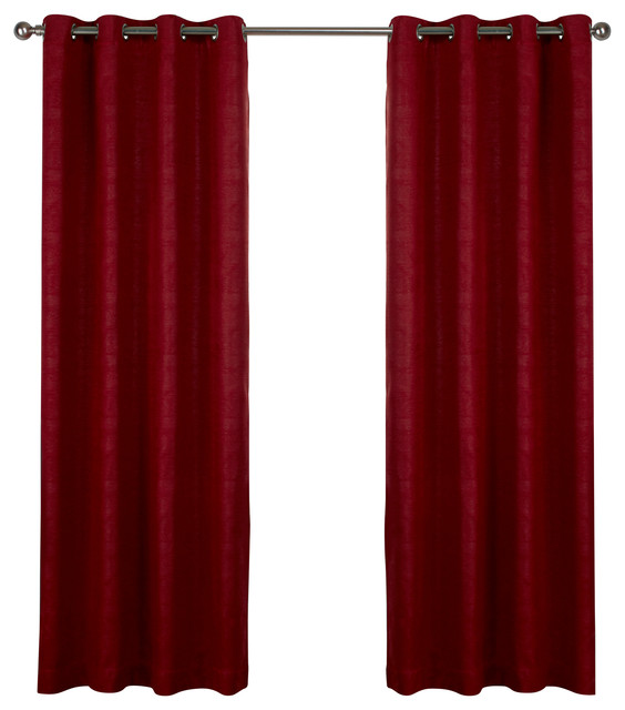 "Oxford Grommet Top Curtains, 52""x108"", Chili, Set Of 2."