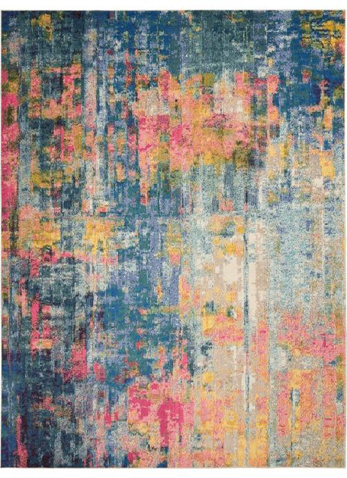 Nourison Celestial Colorful Modern Rug, Blue/Yellow, 9'x12'