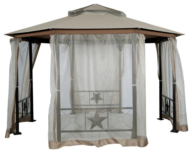 12&x27; X 12&x27; Patio Backyard Double Roof Vented Octagonal Gazebo Canopy.
