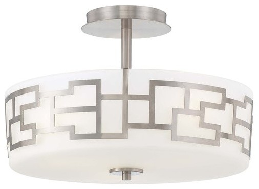 Alecia&x27;s Necklace 3-Light Semi-Flush Moun Brushed Nickel Etched Opal Glass.