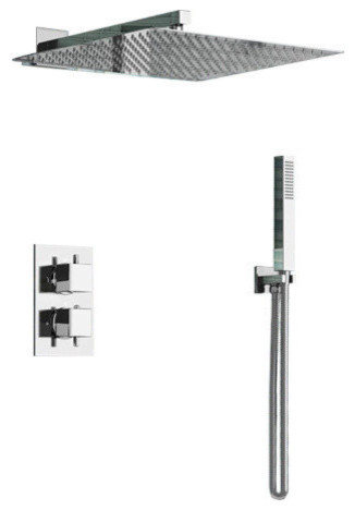 Lima Rain Shower Head, Built-In Thermostatic Mixer and Hand Held Shower Set