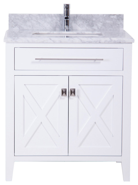 """Anne Bathroom Vanity With Marble Top, White, 30""""."""