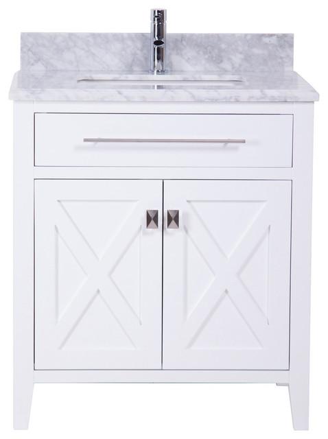30 White Bathroom Vanity With Marble Sink Top