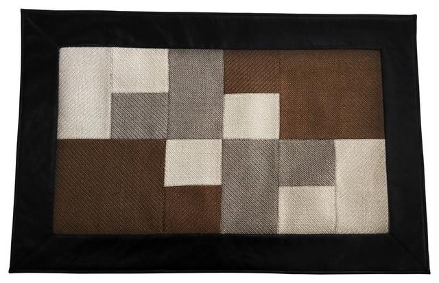 Area Rug Patchwork Carpet Handmade Door Mat Khaki 23 X35 Modern