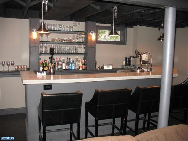 Industrial Style Basement Bar