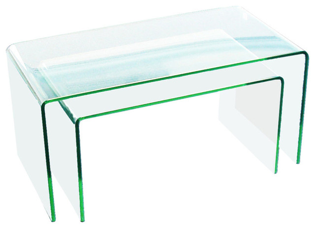 Clear bent glass nest tables 38 thick 2 pieces contemporary clear bent glass nest tables 38 thick watchthetrailerfo