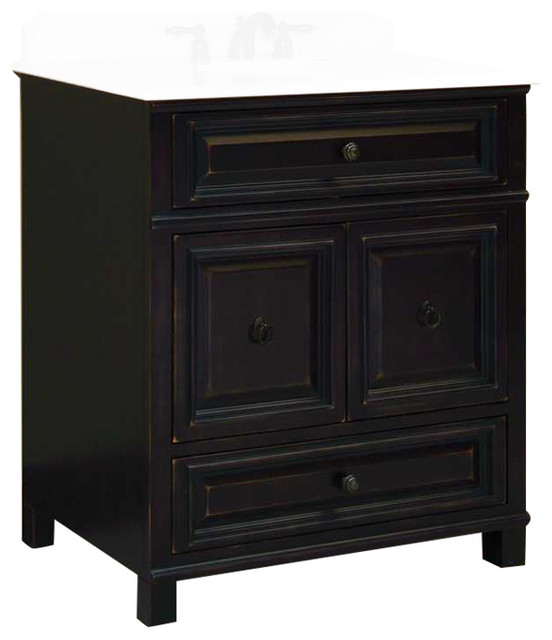 Shop houzz sunny wood products barton hill assembled for Bathroom vanity with bottom drawer