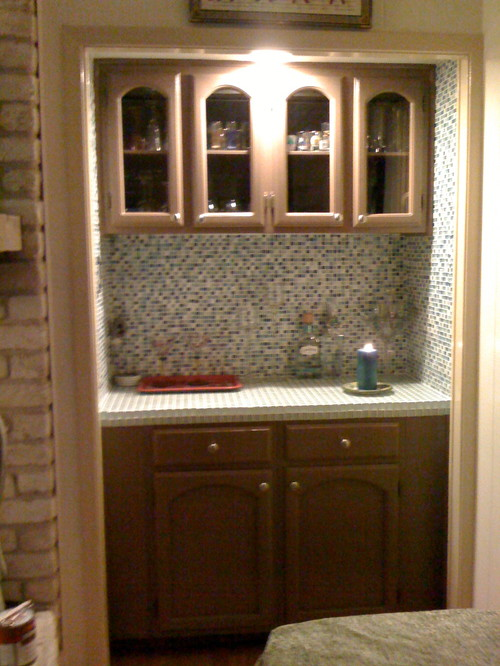 ... Mini Bar That Had Mustard Color Counter Tops And Glass Mirrors Into A  Sleek New Design. Took Out The Sink, Replaced Mirrors With Glass Tile  Backsplash, ...