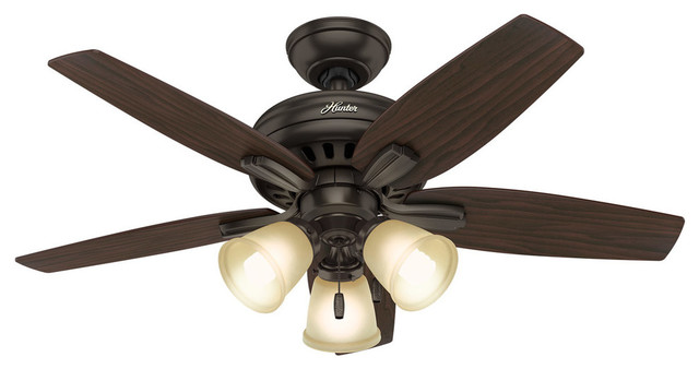 """Hunter 42"""" Newsome With 3 Lights Premier Bronze Ceiling Fan With Light."""