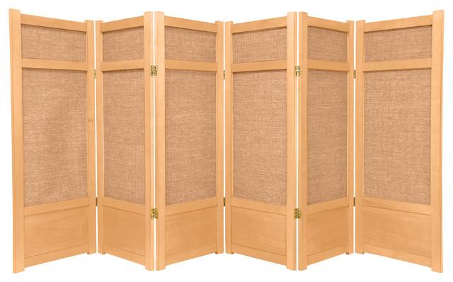 4' Tall Low Jute Shoji Screen, 6 Panel, Natural