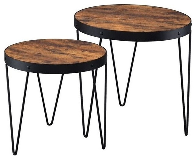 Coaster 2 Piece Round Nesting Tables Honey Cherry Coffee Table Sets By Homesquare