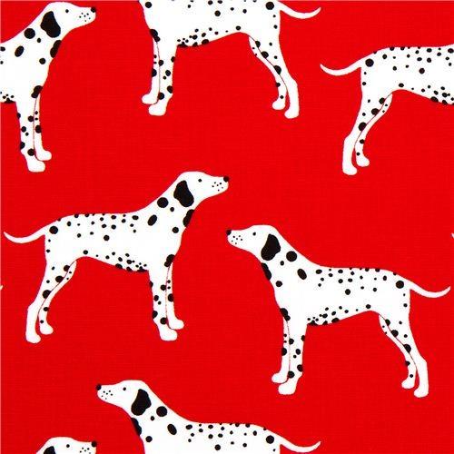 red Robert Kaufman fabric Menagerie dalmatian dog