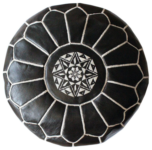 Moroccan Leather Pouf, Unfilled, Black/White