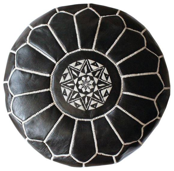 Moroccan Leather Pouf, Black/white.