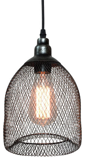 Pendant Lamp With Metal Mesh And Wire Shade
