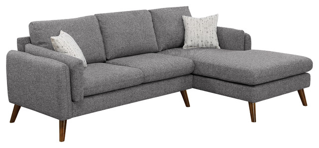 Founders Cotton Blended Fabric Sectional Sofa, Light Gray by