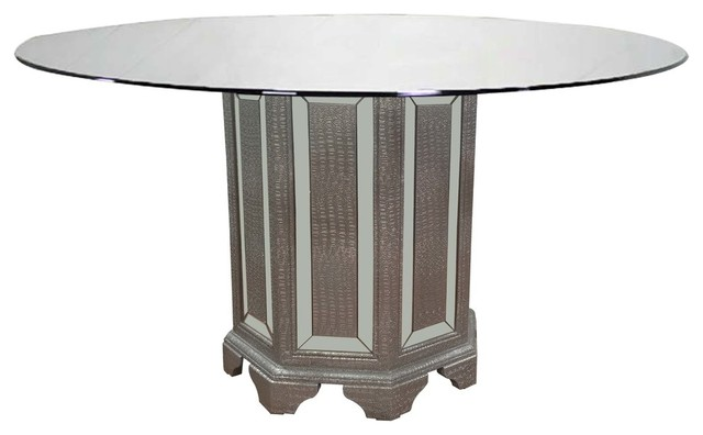 Tuxedo Mirrored 60 Inch Round Dining Table Traditional Dining Tables By Furniture Import Export Inc