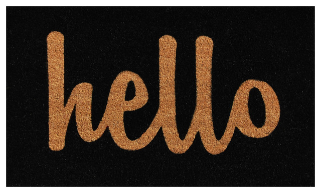 Hello Doormat Black/natural Script 17x29.