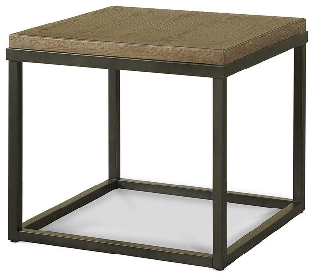 Beau French Industrial Oak Wood And Metal Square End Table, Natural Oak