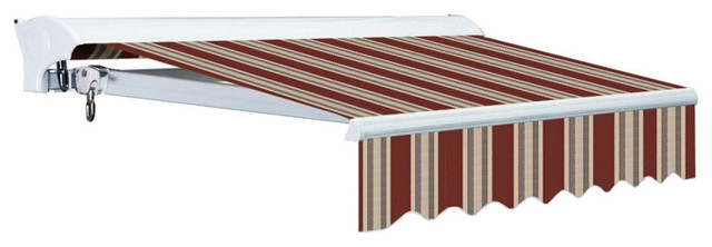 12 Ft Luxury Semi-Cassette Electric Easy-Pitch Retractable Awning, Red/beige.