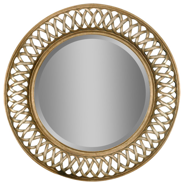 Entwined Round Gold Silver Leaf Mirror Wall Mirrors By Lampclick