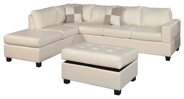 Bonded Leather 3-Piece Modern Reversible Sectional Sofa, White.