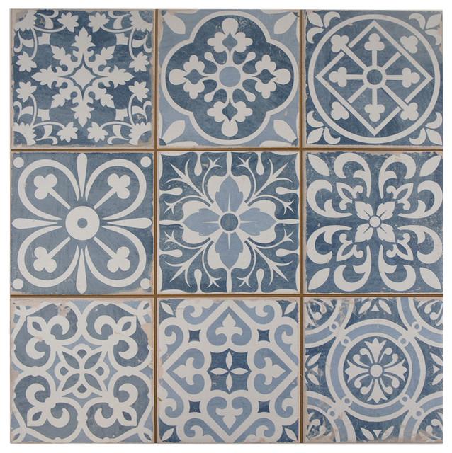 "13""x13"" Faventia Ceramic Floor/Wall Tiles, Azul"