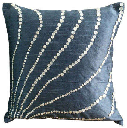 "Mother Of Pearls 12""x12"" Art Silk Slate Blue Pillows Cover, Blue Moon."