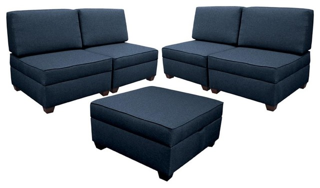 6 Piece Sectional Transitional Living Room Furniture Sets By
