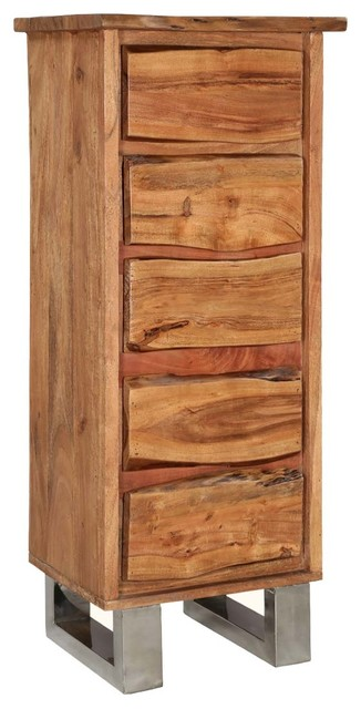 Natural Edge Acacia Wood 5-Drawer Tall Rustic Dresser.