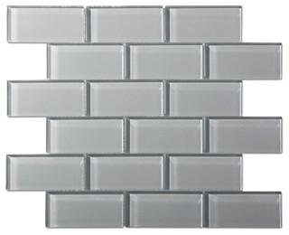 12 X12 Smoke Gray Gl Mosaic Subway Tile Single Sheet Modern By Thebuilderdepot