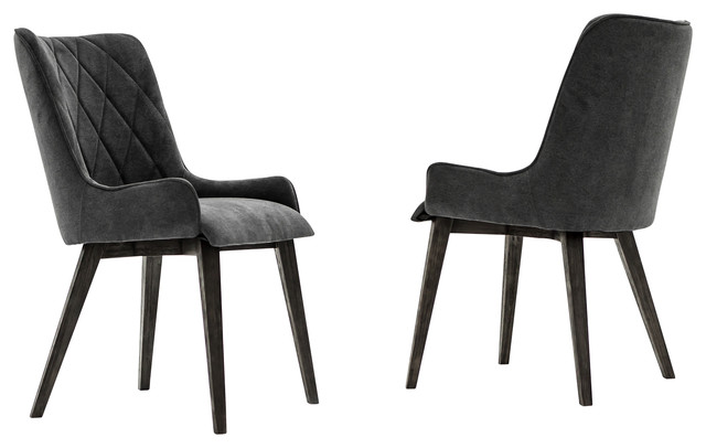 Alana Charcoal Upholstered Dining Chair Set Of 2 Midcentury Dining Chairs By Armen Living