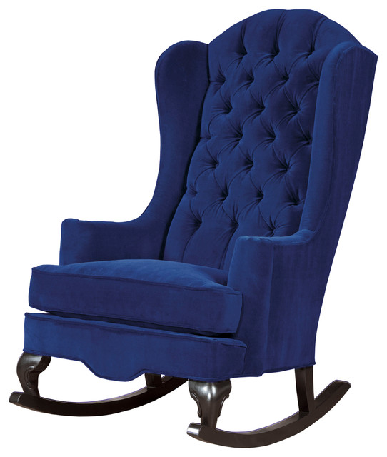 Superbe Fitzgerald Tufted Velvet Rocking Chair, Navy