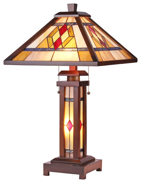 Chloe Lighting Gareth Mission 3 Light Double Lit Wooden Table Lamp.