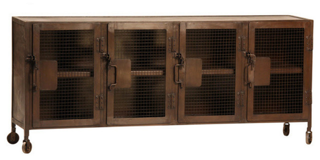 Shop Houzz Dovetail Furniture Kenter Industrial Metal Cabinet With Wheels Buffets And Sideboards