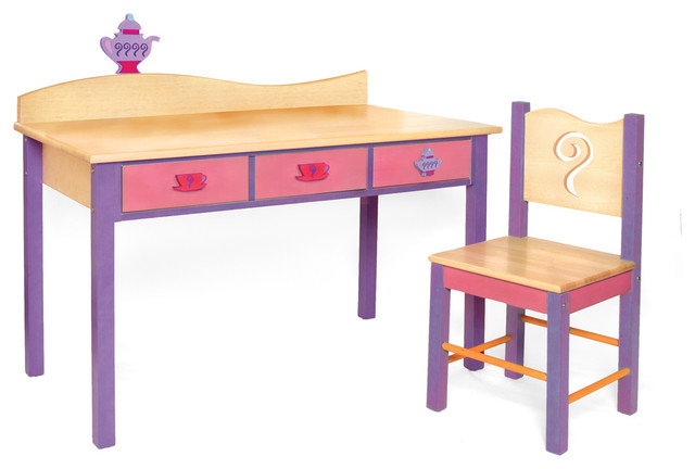 Girl Teaset Desk and Chair Set  Contemporary  Kids Desks And