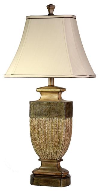 Comberland Table Lamp, Gold Finish, Geneva Taupe Softback Fabric Shade.