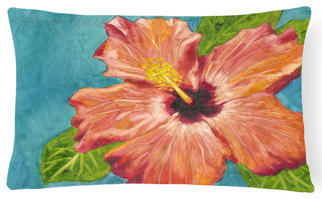 Coral Hibiscus By Malenda Trick Fabric Decorative Pillow.