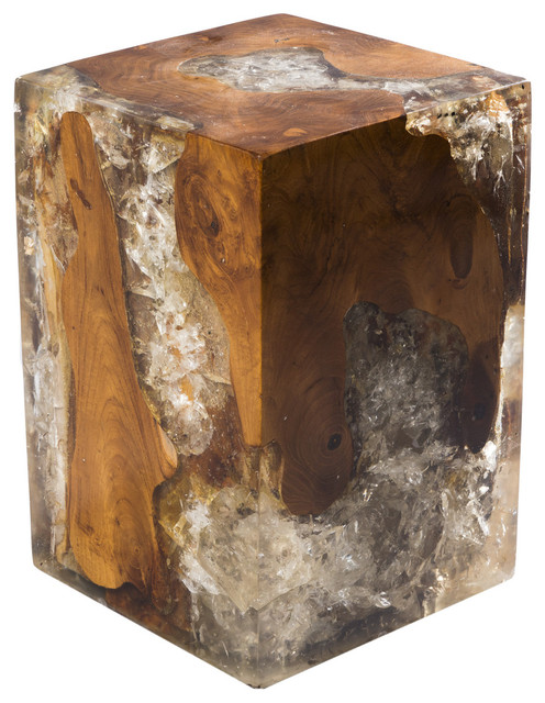 Block Wood Side Table ~ Aire furniture cracked resin block stool side tables and