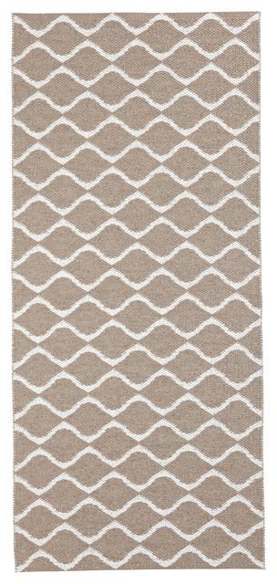 Wave Woven Vinyl Floor Cloth, Beige, 70x200 cm