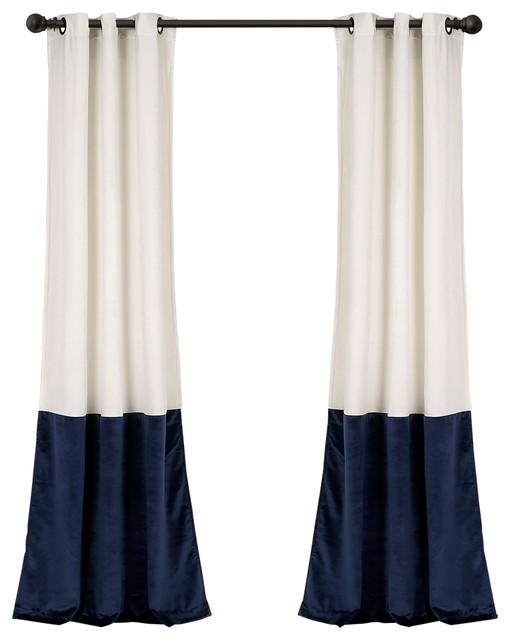 Prima Velvet Color Darkening Window Curtain, White/navy Set, 38x84.