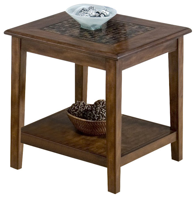 Bon Jofran Baroque End Table With Mosaic Tile Inlay In Brown