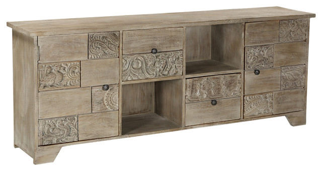 Reclaimed Wood Media Console Palazzo Furniture With 2 Door And Drawers