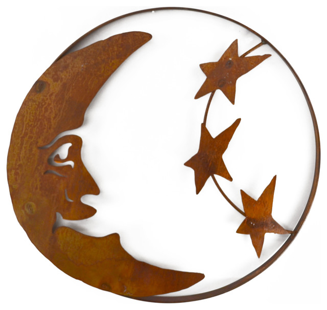 Rustic Metal Wall Art man on the moon and stars metal wall sculpture - rustic - metal