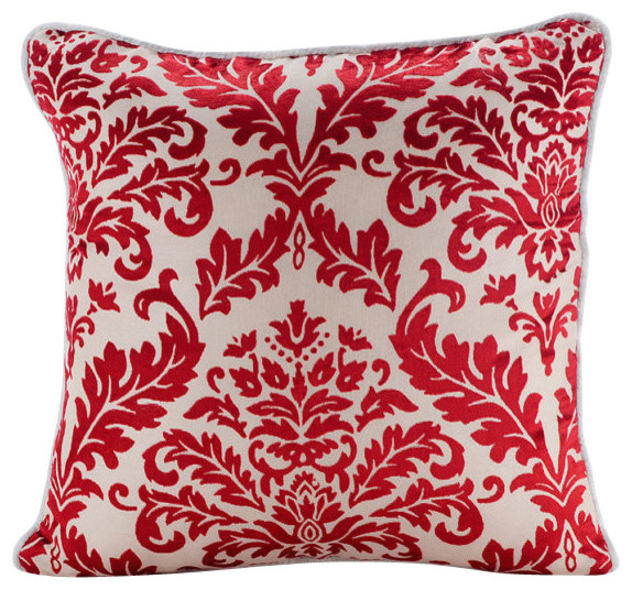 Red Damask Pattern 16 X16 Burnout Velvet Pillowcase